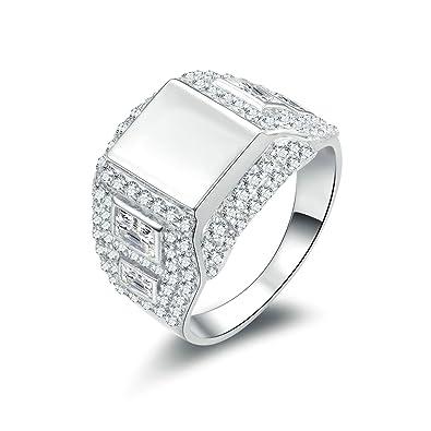 Beydodo Sterling Silber Ringe Herren Siegelring Solitärring Rund Weiß  Zirkonia Prinzess Eherring Trauring Silber Ringe Größe dd8a157422