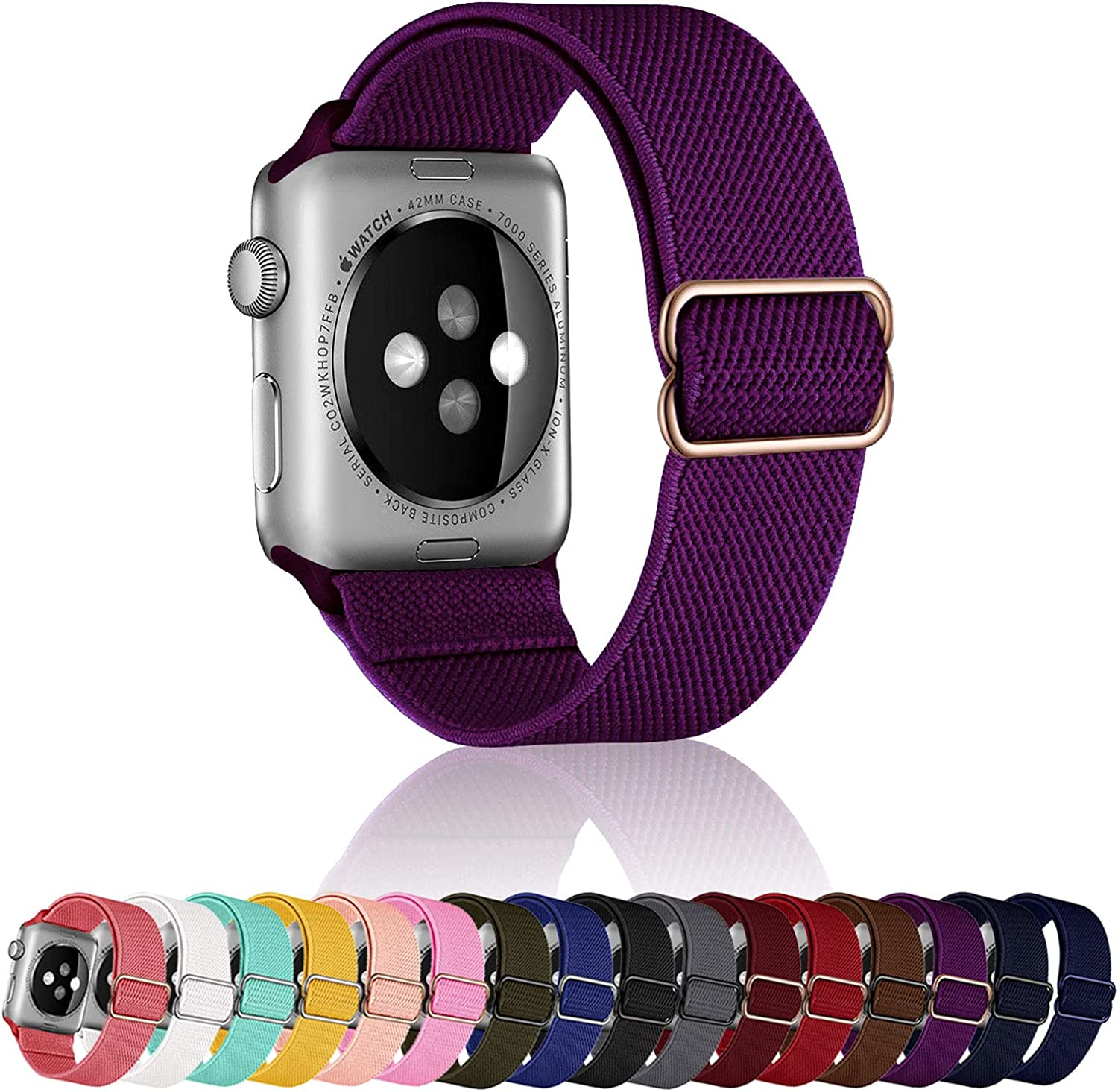 SACRONS Stretchy Nylon Solo Loop Compatible with Apple Watch Bands 38mm/40mm,42/44mm,Adjustable Braided Sport Elastic Nylon Wristband for i-Watch Series 6/SE/5/4/3/2/1