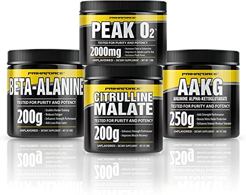 PrimaForce Pre-Workout Supplement Bundle with PeakO2 Enhances Strength Performance Reduces Fatigue Improves Muscle Recovery