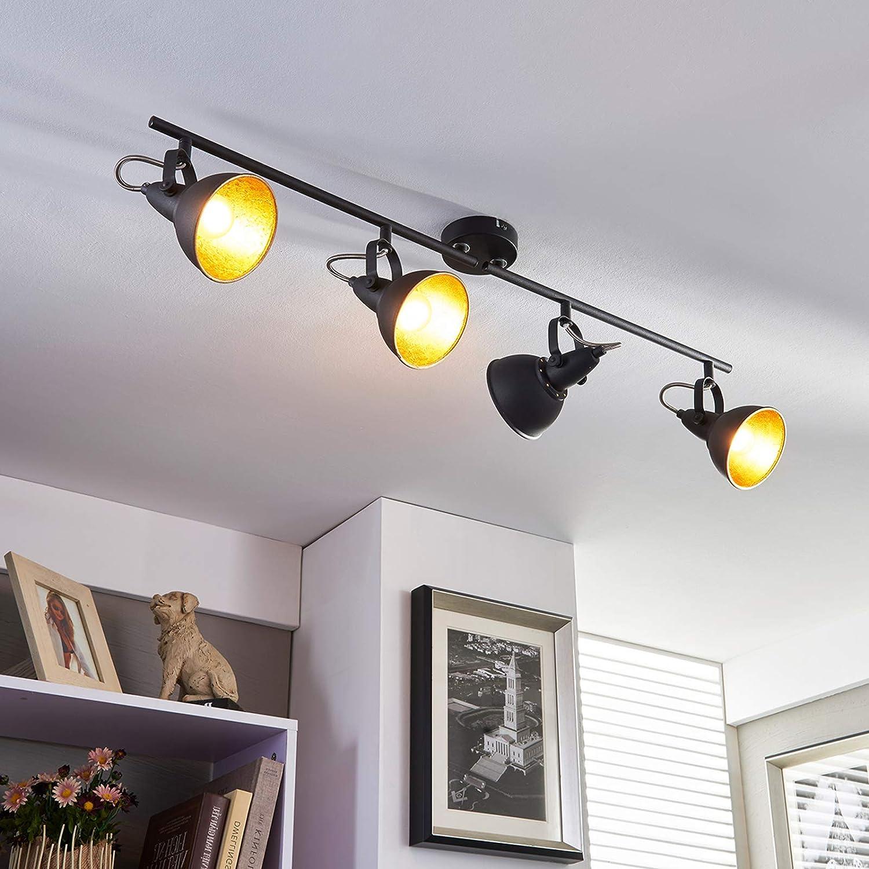 Lampenwelt Deckenlampe 'Julin' dimmbar (Modern) in Schwarz und Gold aus Metall für Wohnzimmer & Esszimmer (4 flammig - Lampenwelt Deckenleuchten