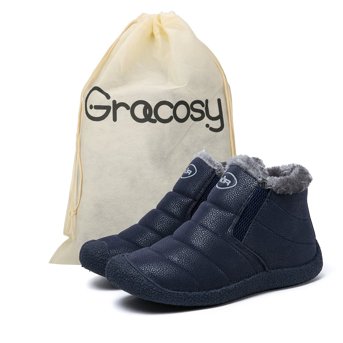 Gracosy Snow Boots, Winter Outdoor Slip On Ankle Snow Booties With Fur Lined, Unisex B075YYMTVN Tag 39|Blue
