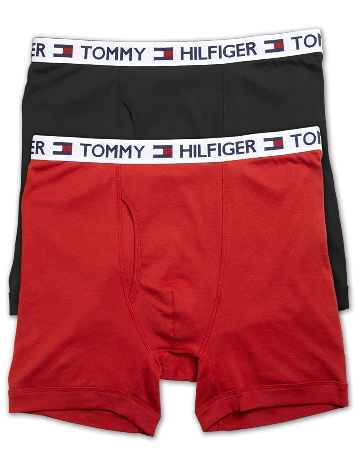 Tommy Hilfiger Big and Tall 2-Pack Knit Boxer Briefs (2X, Black Red)