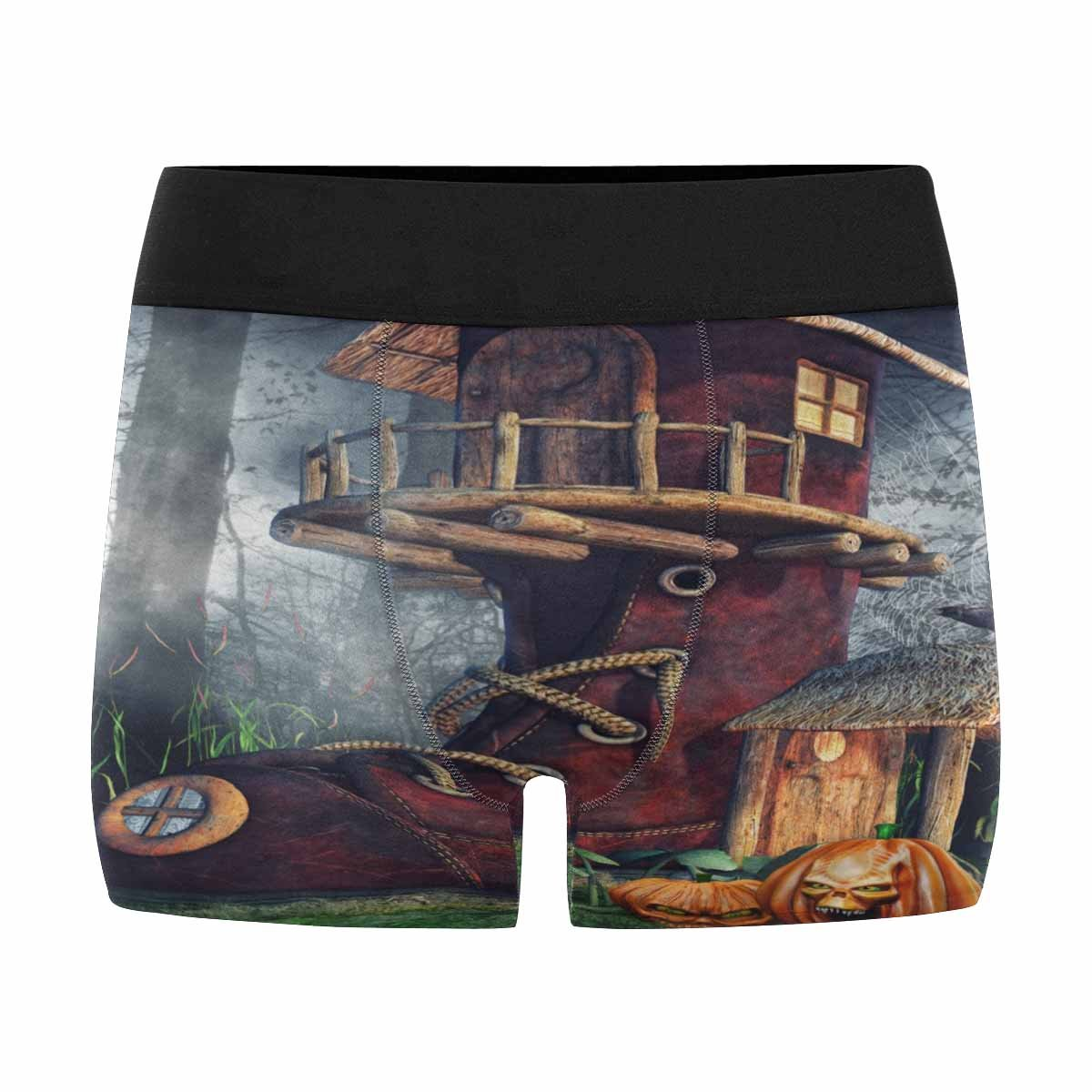 INTERESTPRINT Mens All-Over Print Boxer Briefs Fantasy Shoe House with Halloween Pumpkins in a Dark Forest XS-3XL