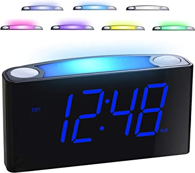 Alarm Clock For Bedrooms 7 Color Night Light 2 Usb Chargers 7 Large Led Display With Slider Dimmer 12 24 H Battery Backup Plug In Loud Alarm Clock For Heavy Sleeper Teen Elderly Boys Girls Kids Electronics