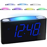 """Alarm Clock for Bedrooms - 7 Color Night Light,2 USB Chargers, 7"""" Large LED Display with Slider Dimmer, 12/24 H,Battery Backu"""