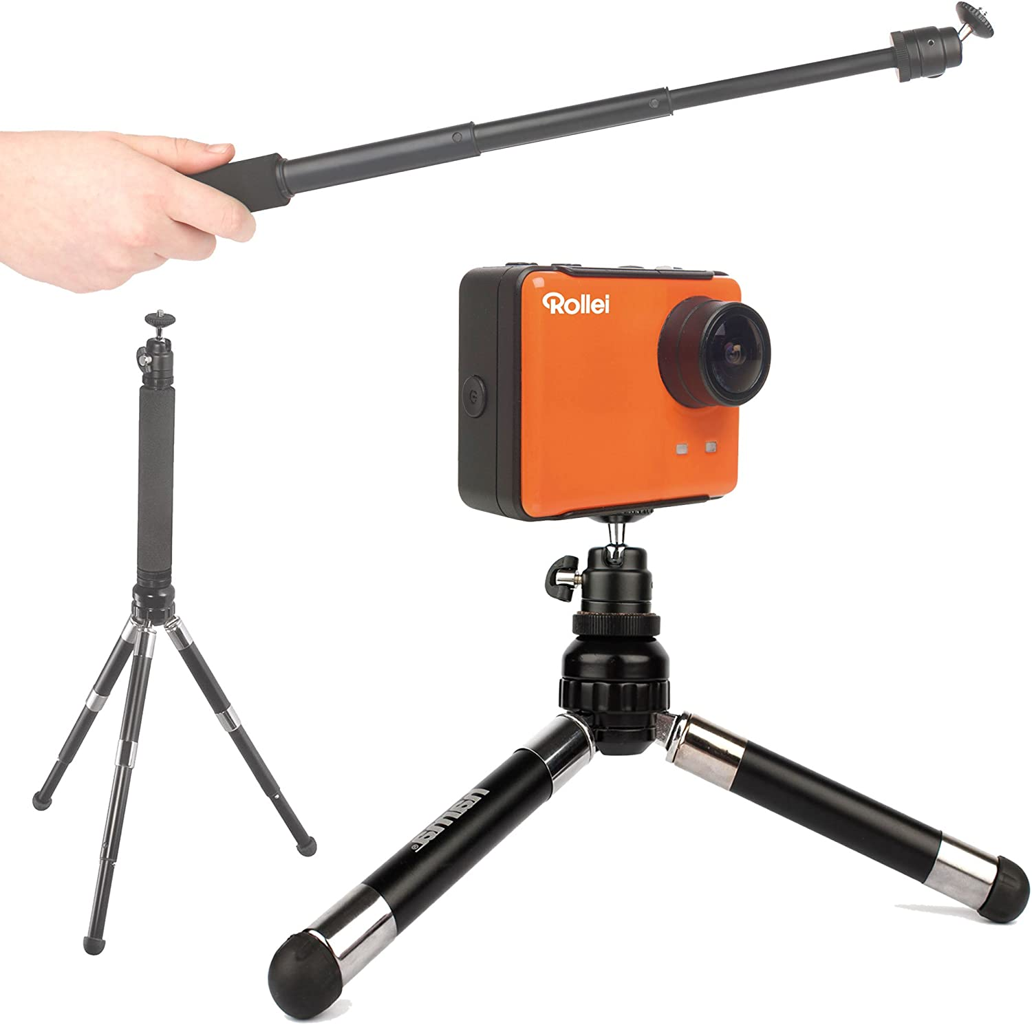 Compatible with Rollei S-50 WiFi Nitro Circus Standard /& 5S WiFi Action Cameras Ski DURAGADGET Lightweight Telescopic 2-in-1 Tripod//Monopod