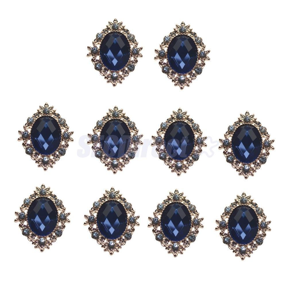 10pcs Rhinestone Sewing Buttons Flat Back Cabochons DIY Embellishments Decor Navy Blue sfcdirect