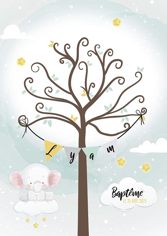 Arbre /à empreintes pour Bapt/ême et anniversaire pour enfant Th/ème koala eucalyptus Format A4 ou A3
