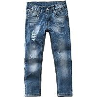 Sliktaa - Pantalón corto para niño (algodón, vaqueros, para niño, con agujeros)