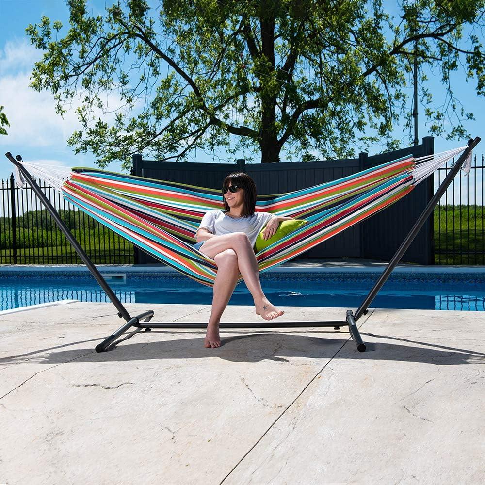 Vivere Double Sunbrella Hammock & 9' Steel Stand - Carousel Confetti