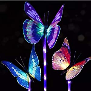 3 Pack Solar Lights Garden Solar Stake Light Solar Butterfly Lights with Waterproof Fiber Optic Butterfly Decorative Lights for Walkway Yard Lawn Landscape Lighting Outdoor (Colorful , Multiple Sizes)