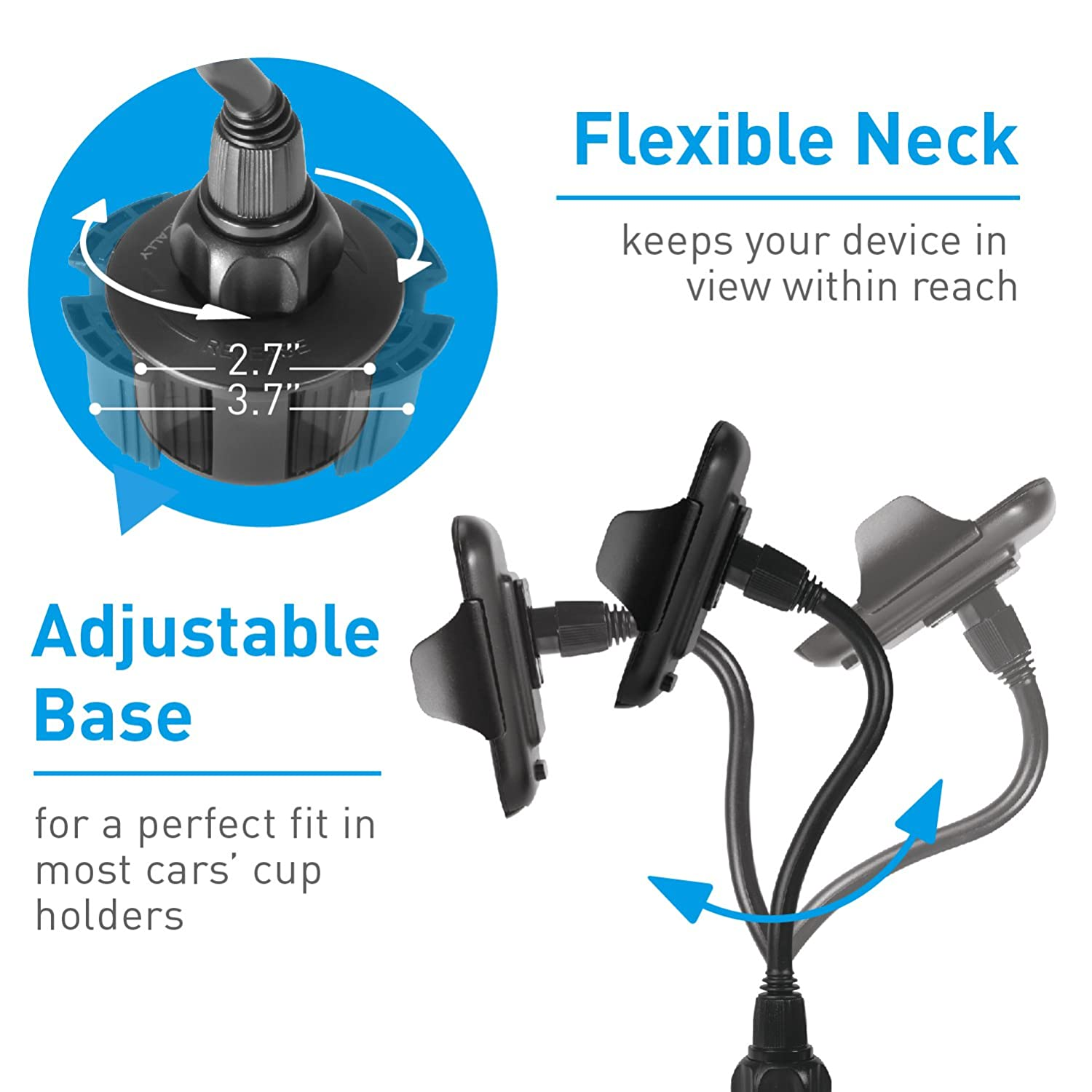 Macally Car Cup Holder Phone Mount with Longer Neck /& 360/° Rotatable Cradle for iPhone X 8 8 Plus 7 7+ 6s 6 SE Samsung Galaxy S9 S9+ S8 S7 Edge S6 Note 5 GPS etc. Smartphones MCUPXL