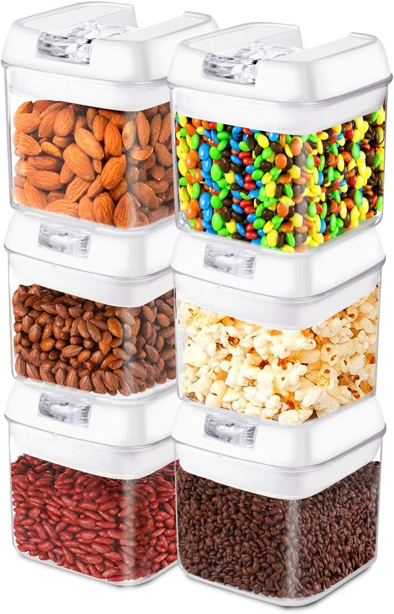 Frebw Airtight Food Storage Containers, 6 BPA Free Plastic Cereal Containers with Easy Lock Lids, for Kitchen Pantry Organization and Storage (A)