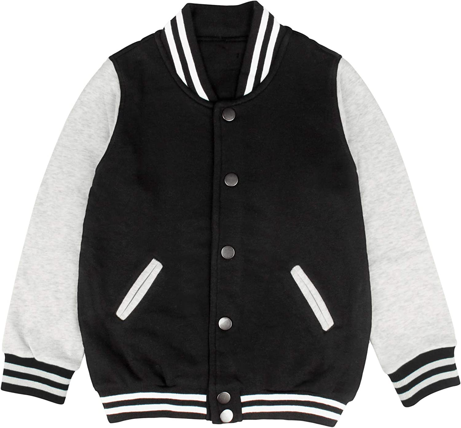 Boys Girls Varsity Letterman Jacket Rock Band Logo Design Baseball Cotton Sweatshirt Coat for Kids