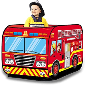 Liberty Imports Kids Pop Up Play Tent - Foldable Indoor and Outdoor Playhouse for Toddlers, Boys and Girls (Fire Truck)