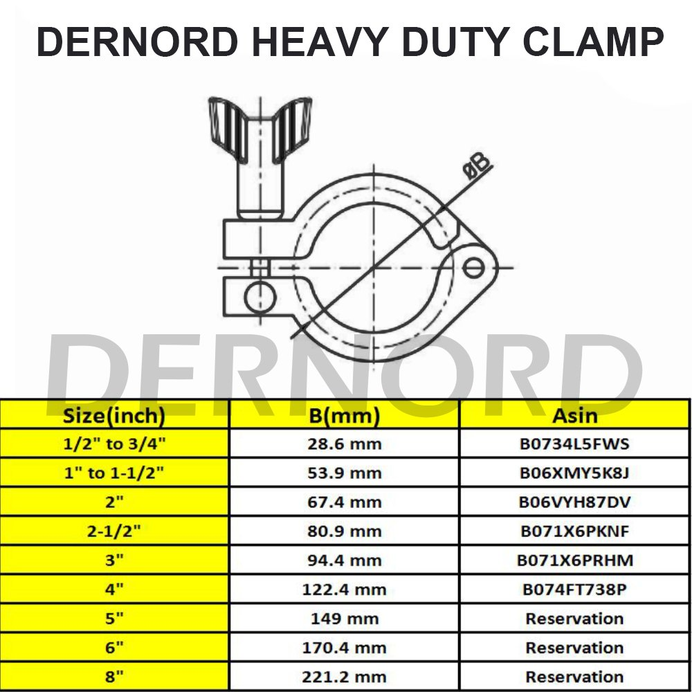 Dernord Stainless Steel Sanitary Clamp Single Pin Tri Clamps Clover (Tube OD: 4'') by DERNORD (Image #6)