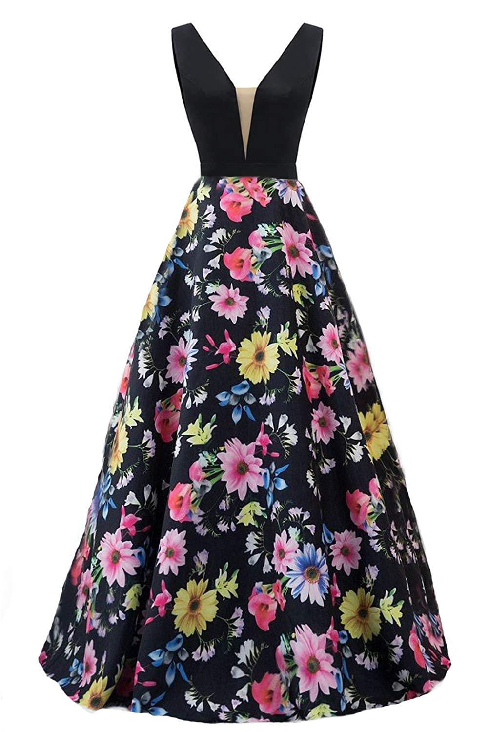 Black3 Dydsz Long Evening Prom Dresses for Women Formal Gown with Pockets Print Floral D295