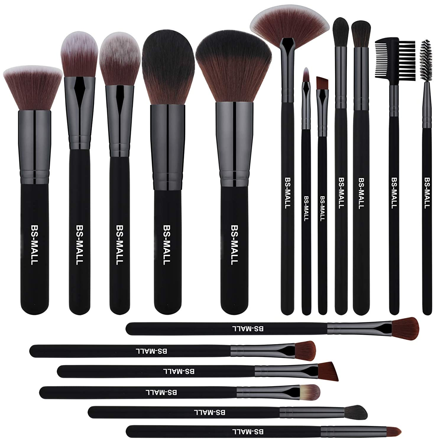 2d6349fa1772 BS-MALL Makeup Brushes Premium 18 Pcs Synthetic Foundation Powder  Concealers Eye Shadows...