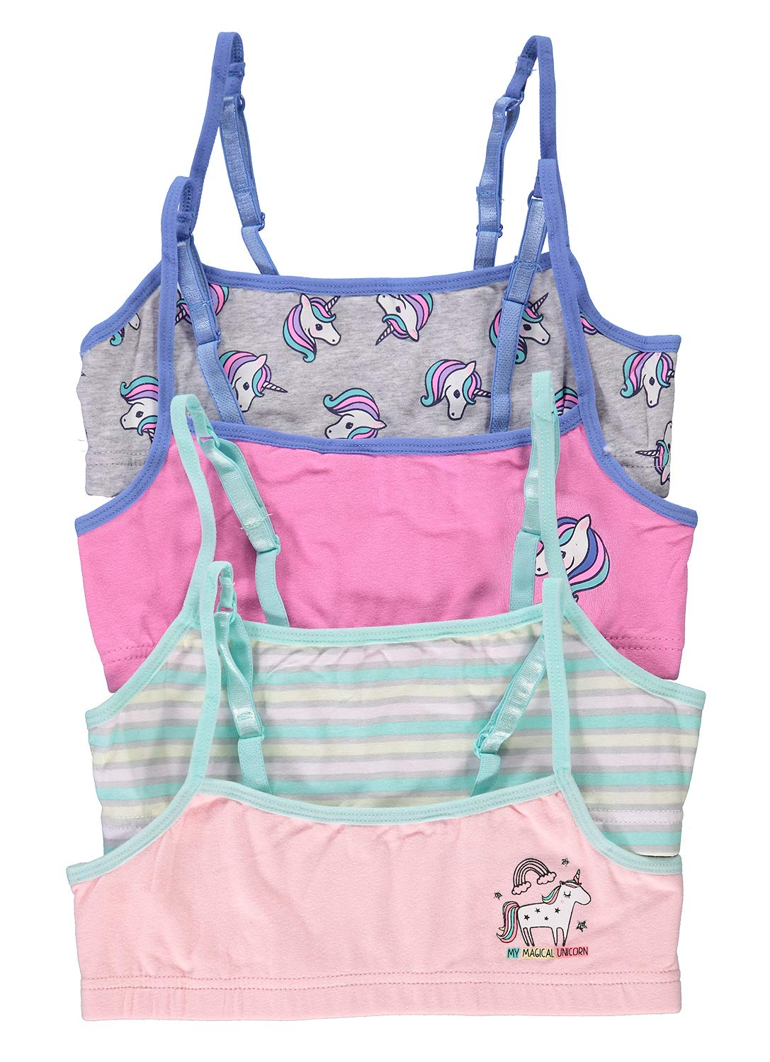Fun Unicorn Girls Training Bras | Crop Tops 4-Pack Chill