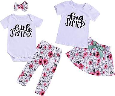 3Pcs Baby Girls Little//Big Sister Romper Tops Bodysuit Pants Outfits Clothes Set