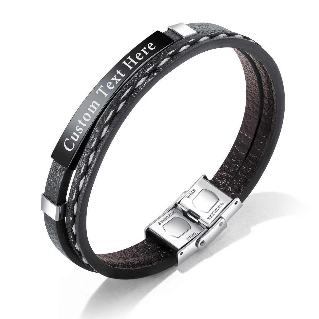 GAGAFEEL Leather Bracelet Braided Rope Cuff Custom Engraved Message Stainless Steel Bangle Unisex Gift (Engraving-Black) by GAGAFEEL (Image #7)