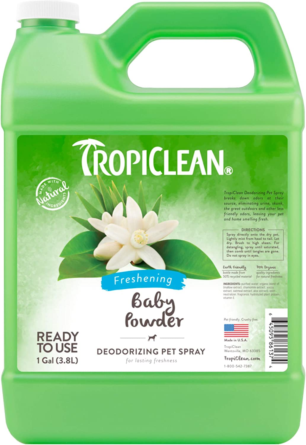 TropiClean Deodorizing Sprays for Pets, Made in USA - Helps Break Down Odors to Effectively Deodorize Dogs and Cats, Paraben Free, Dye Free