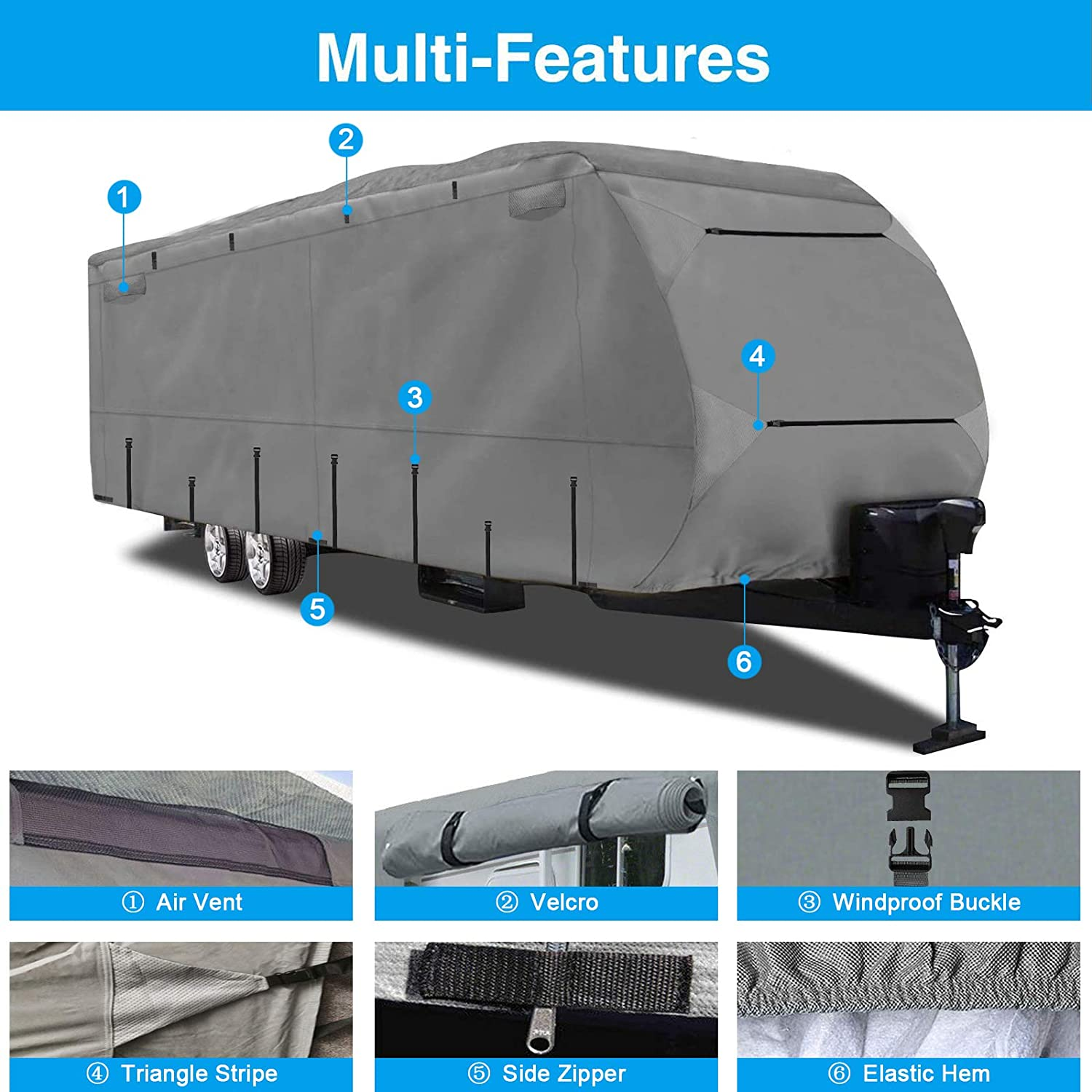 16-18 Ripstop Waterproof RVs Covers with Storage Bag and Windproof Buckles Szblnsm 420D Heavy Duty Travel Trailer Cover