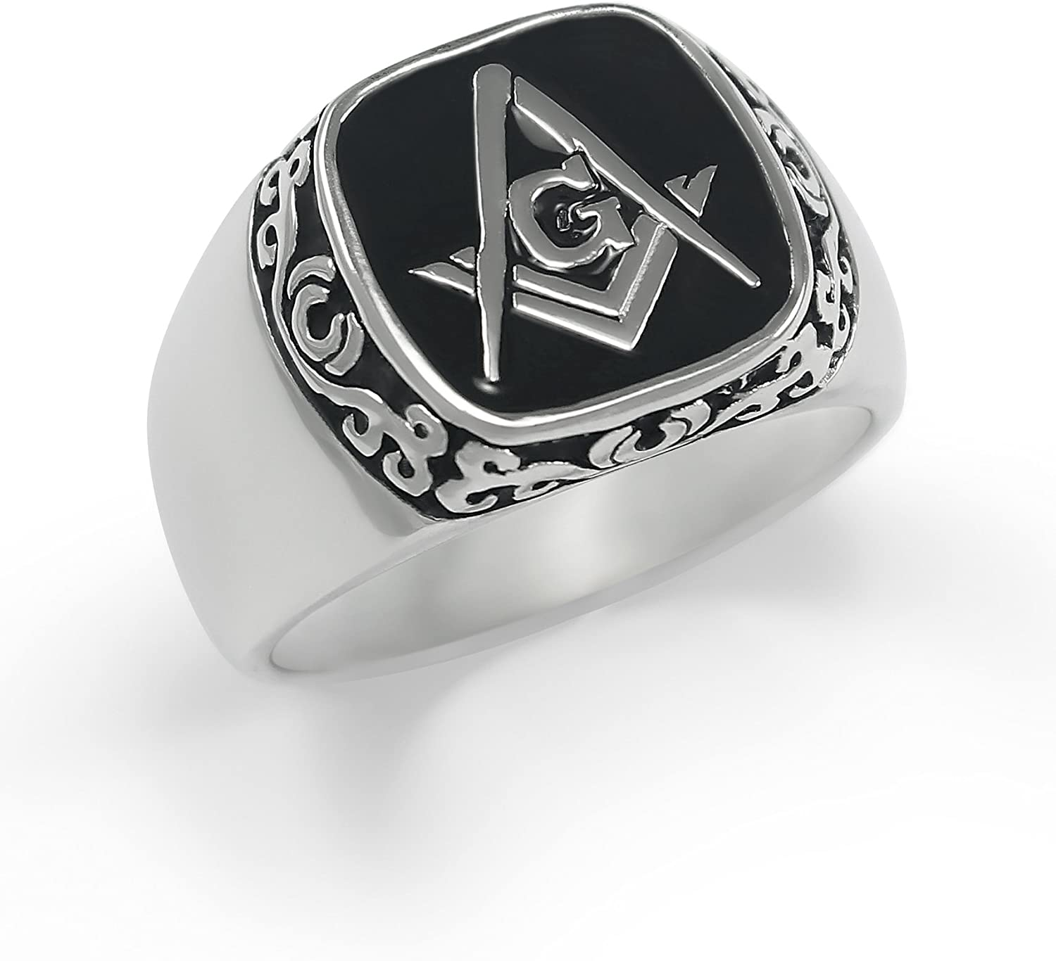 Sterling Silver with Square and Compass /& Black Enamel The Collegiate Standard Masonic Ring