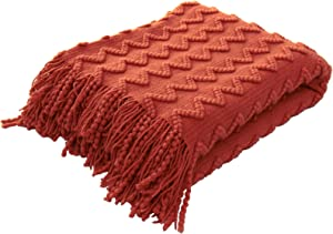"""BRSnugU Textured Knitted Throw Blanket Solid Cozy Striped Weave Bed Throws with Tassels for Couch,Sofa,and Travel,50""""x60"""",Rust Red"""