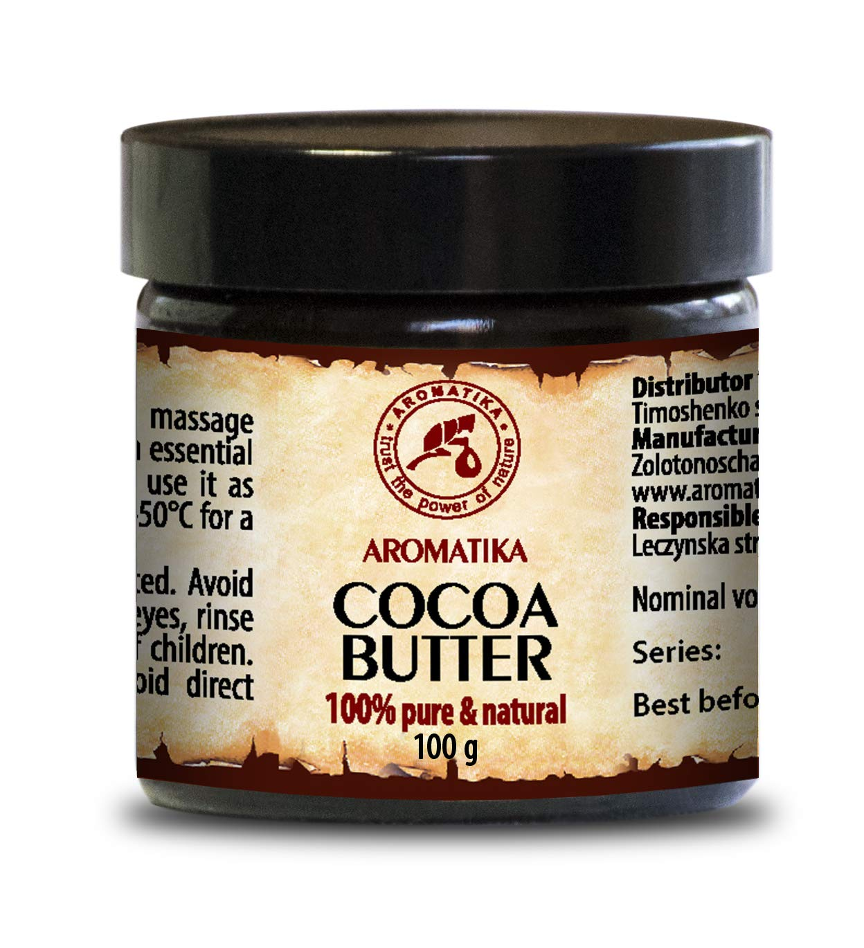 Cocoa Butter Pure & Natural 100gr - Glass Brown Bottle - Burkina Faso - Theobroma Cacao Seed Butter Aromatika