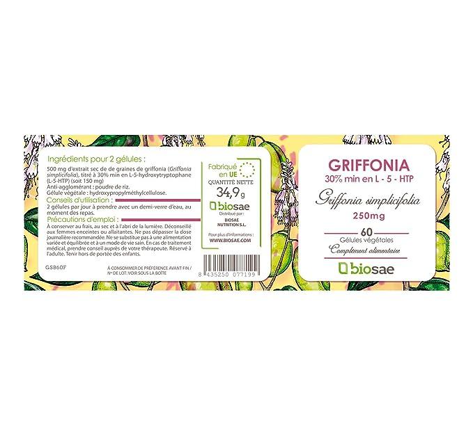 Extracto seco de semillas de Griffonia | 30% en L-5-HTP | 250mg / 60 cápsulas vegetales | Fabricado en España | Biosae Nutrition: Amazon.es: Salud y cuidado ...