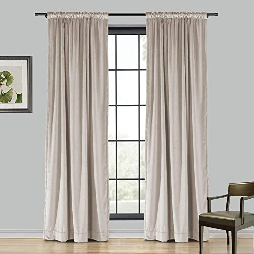 TWOPAGES Extra Wide Sand Beige Heavyweight Thick Soft Velvet Curtain