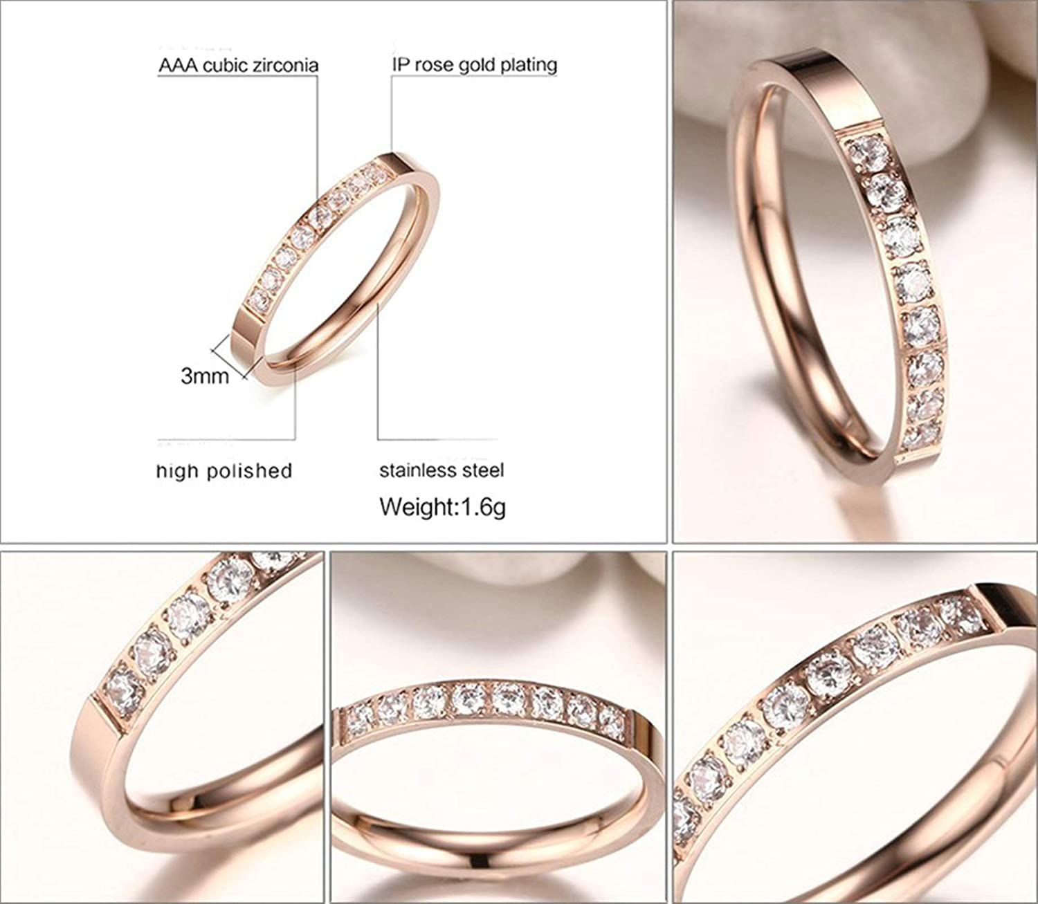 AMDXD Jewelry Rings for Women 8 White Crystals Rose Gold Stainless Steel Rings Jewelry for Women 3 MM,Single Sale