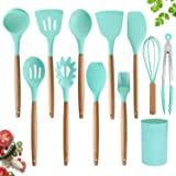 Silicone Cooking Utensils Set by AQLJ3K – 11 Pieces Natural Wooden Handles Kitchen Cooking Tools with Spatulas for Non…