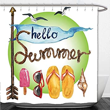 cd1033b933ec5 Beshowere Shower Curtain Summer Decor Collection Vintage Arrow Flag Shell  Rope Flip Flops Sunglasses Sunshine Ice