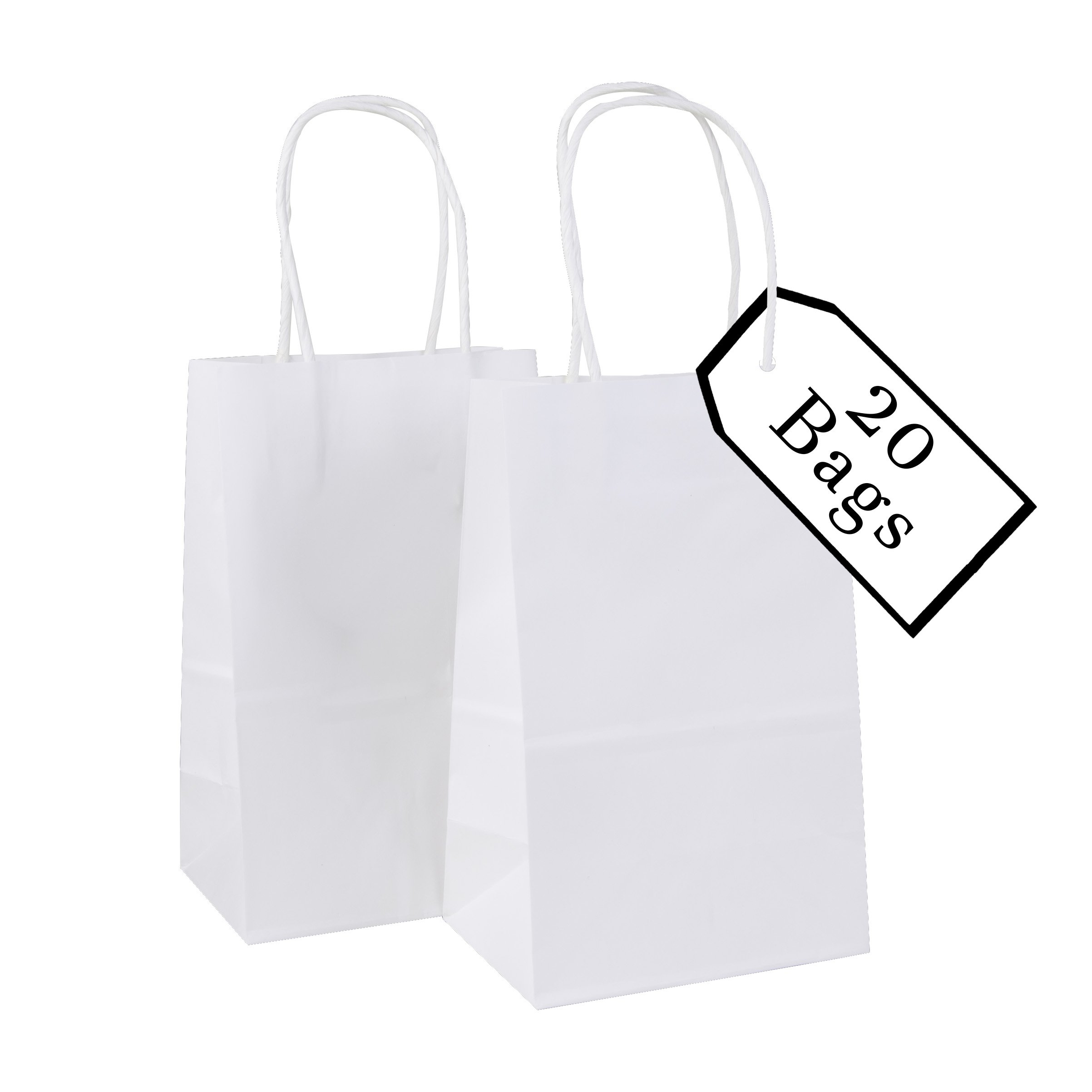 Incredible Packaging - 5.5'' x 3.25'' x 8.37'' Kraft Paper Bags with Handles for Shopping, Lunch, Retail and Merchandise. Strong and Reusable - 20 Bags Count - 80 Paper Thickness (20, White)
