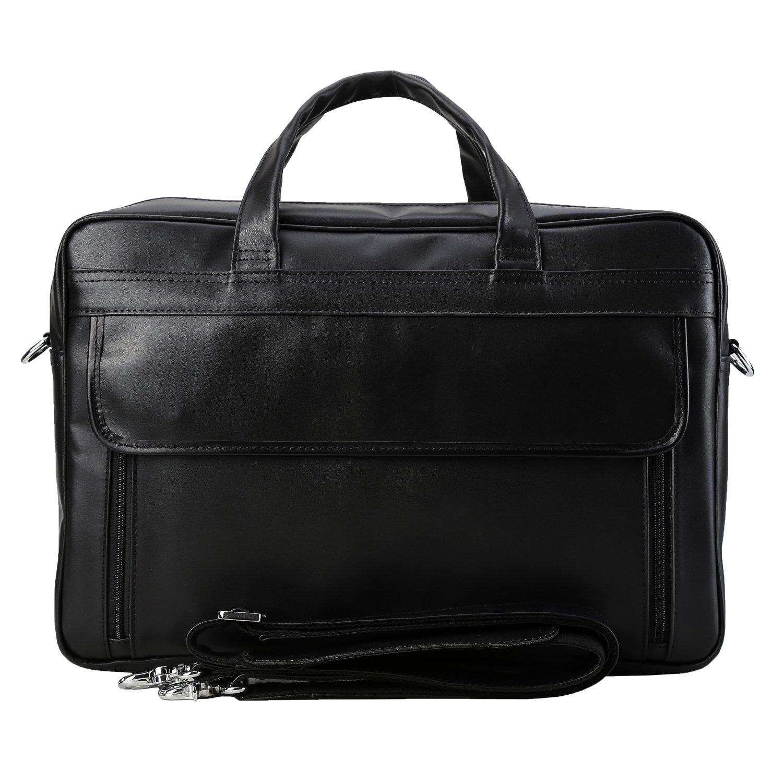 Polare Men's Real Leather Professional 17.7'' Briefcase Shoulder Messenger Business Bag by Polare (Image #2)
