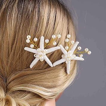 Gold Unicra Wedding Starfish Headpiece Bridal Wedding Hair Vine Hair Accessories for Brides and Bridesmaids 23.6 Inches
