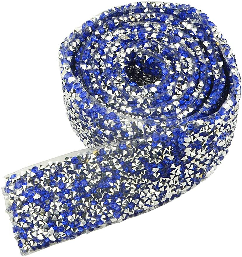 XLX 3cm Wide 2 Yard Rhinestone Diamond Ribbon Adhesive Diamond Belt Glue Patch Decorated Chainfor Crafts Project Birthday Decorations Baby Shower Events and Art Furniture Headboard Clothing(Blue)