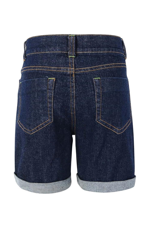 Bienzoe Girls Denim High Waist Rolled Hem Stretchy Navy Jeans Shorts