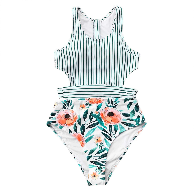 Multi Large The Beste of us Flora Print and Striped Patchwork One-Piece Swimsuit Women U-Neck Tied Bow Zip Back Monokini Swimwear