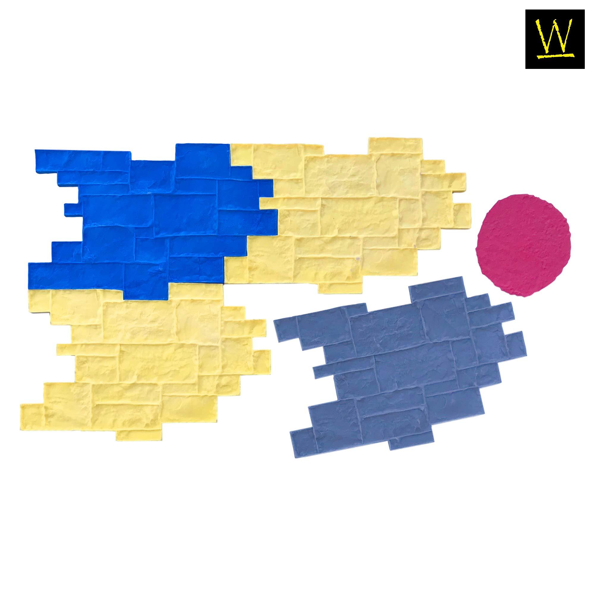 Medievil Cobble Concrete Stamp Set by Walttools | Decorative Random Cobblestone Pattern, Sturdy Polyurethane Texturing Mats, Realistic Detail (5 piece) by Walttools