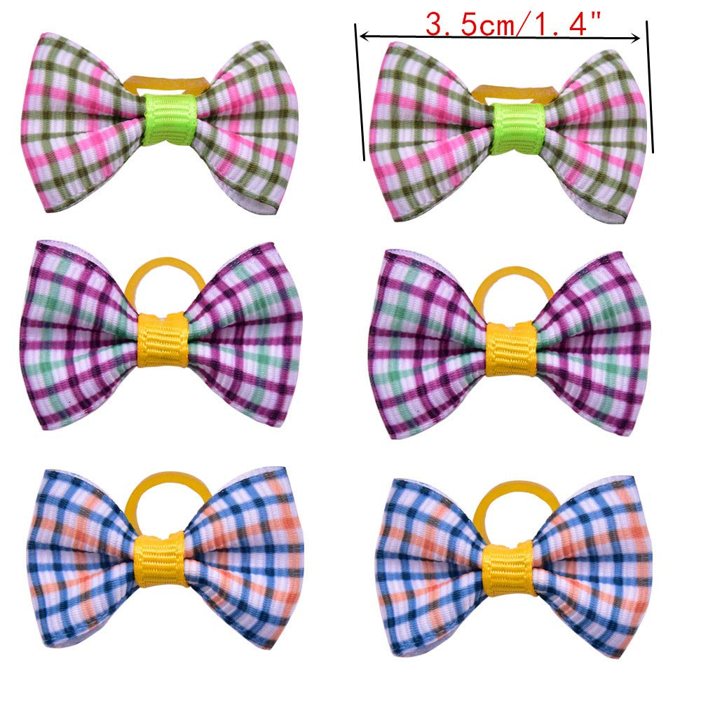 Senniea 50pcs//25pairs Spring Summer Dog Hair Bows with Rubber Bands//Clips Dog Hair Accessories Topknot