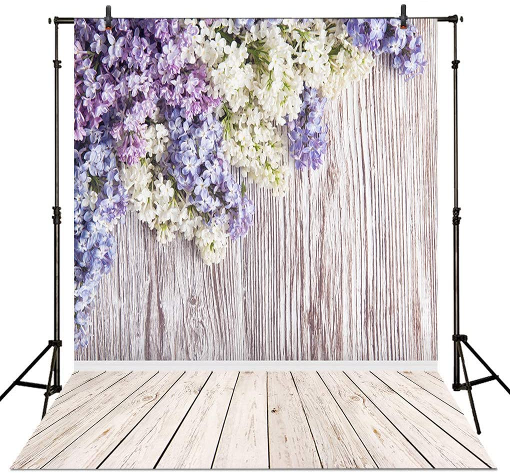 Allenjoy 5x7ft Spring Violet Wood Floral Backdrop Lilac Flowers Wall Decor Rustic Wooden Photo Background for Wedding Baby Shower Mother's Day Photography Photoshoot Props