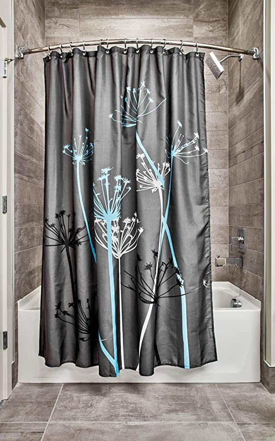 72 x 72-In. Gray /& Blue Polyester INTERDESIGN Thistle Fabric Shower Curtain