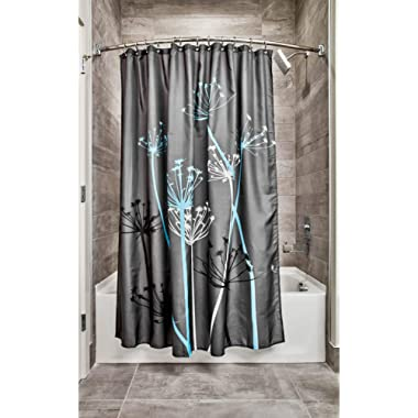 InterDesign Thistle Fabric Shower Curtain, Modern Mildew-Resistant Bath Liner for Master Bathroom, Kid's Bathroom, Guest Bathroom, 72 x 72 Inches, Gray and Blue