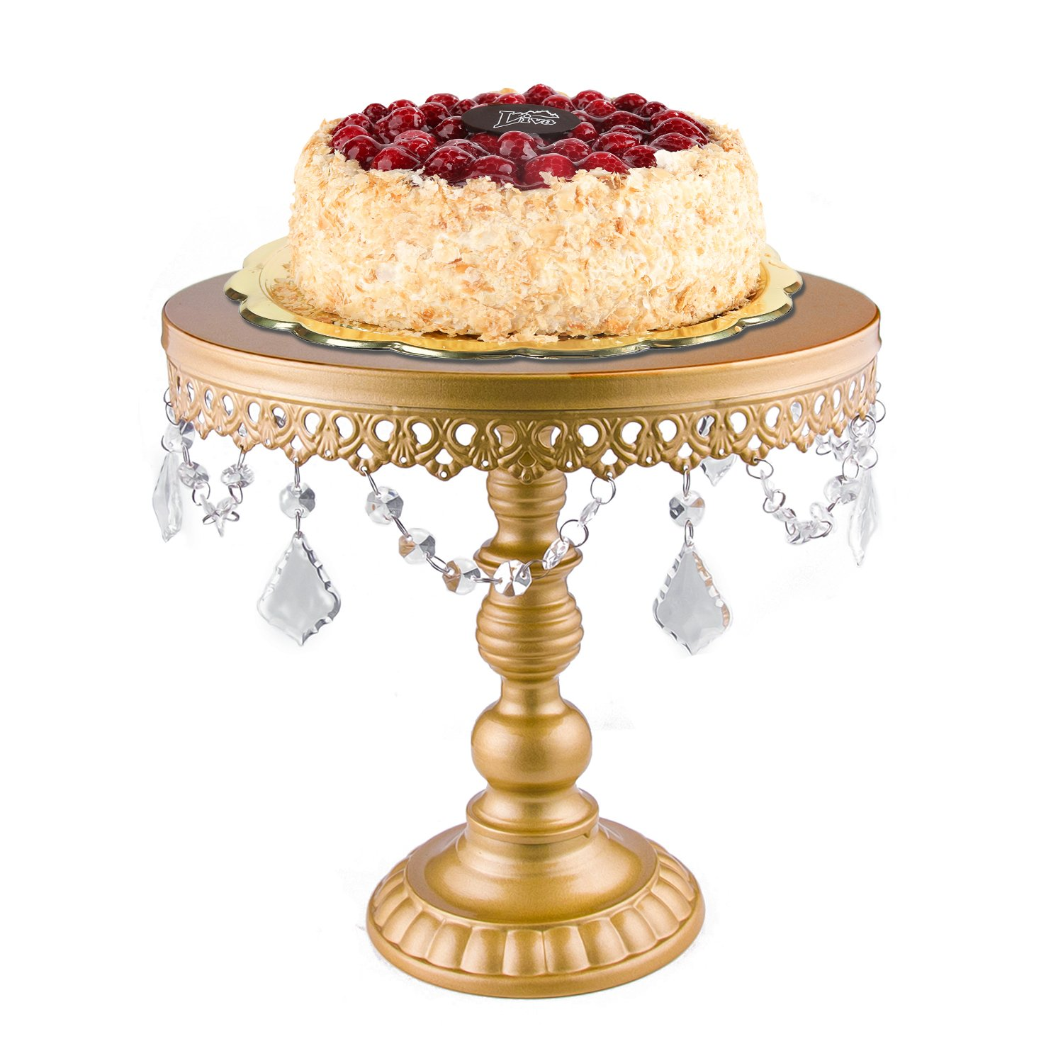 18K Gold Antique Metal Cake Stand, Round Cupcake Stands, Wedding Birthday Party Dessert Cupcake Pedestal/Display/Plate with Crystals and Beads(L:12X11.5'')
