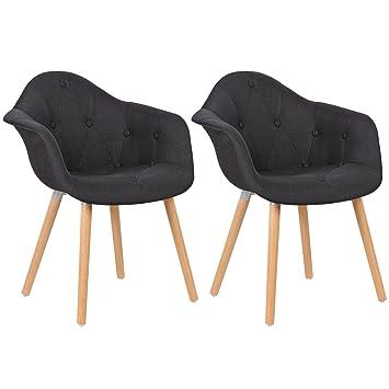 Schön WOLTU® BH55sz 2 Esszimmerstühle 2er Set Esszimmerstuhl Mit Lehne Design  Stuhl Küchenstuhl Leinen Holz