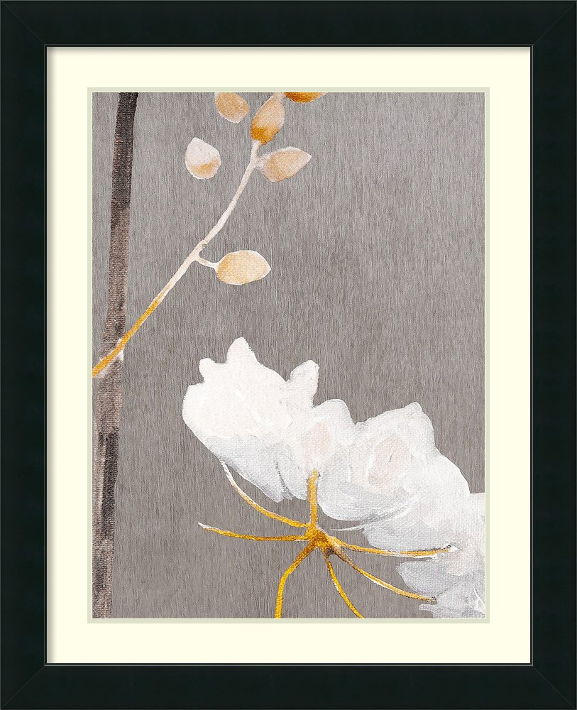 Framed Art Print 'White Flower on Medium Gray' by Philip India & Purry