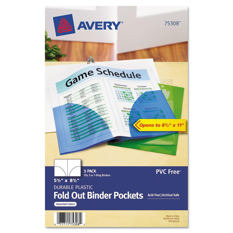 Avery 75308 Binder Pockets, Fold-Out, Mini,8-1/2x5-1/2, 3/PK, AST 8-1/2x5-1/2